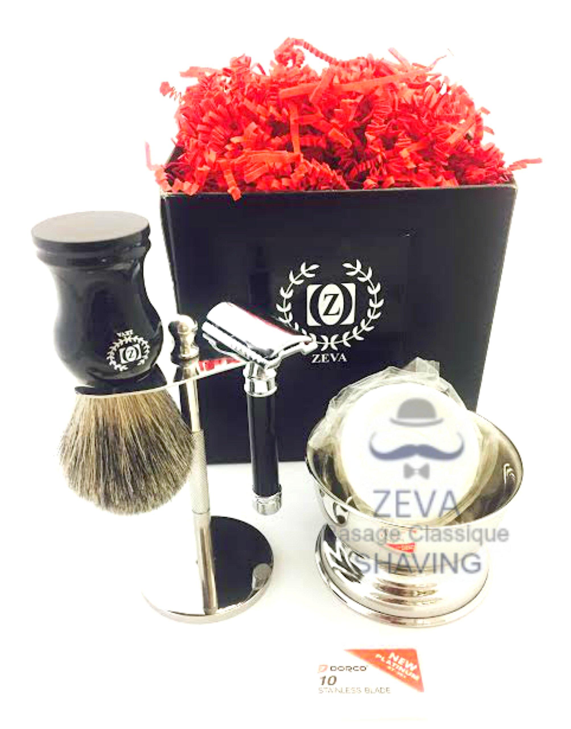 Men Shaving Set Badger Hair Shaving Brush Classic Double Edge Safety Razor Mens Grooming Gift Set