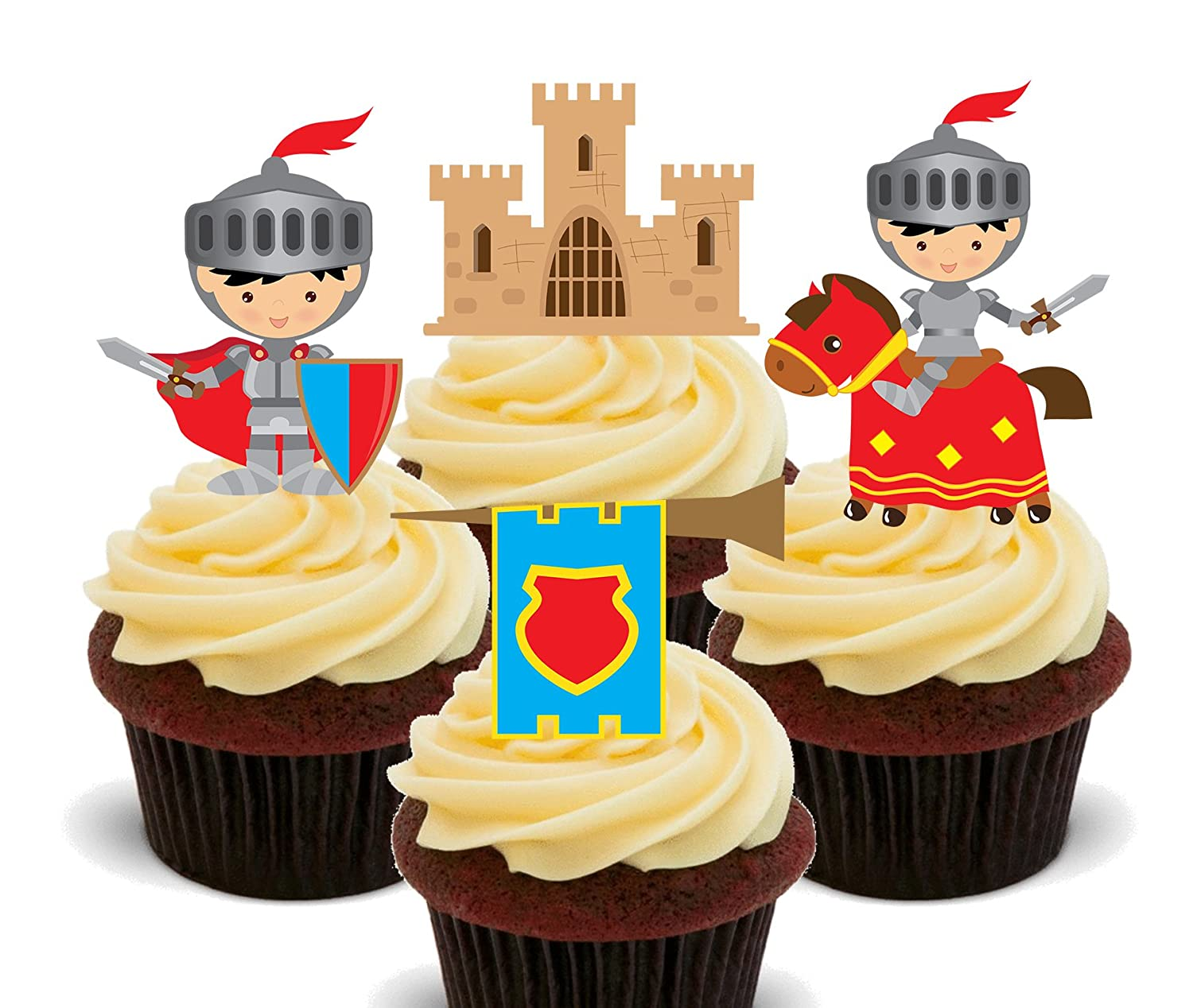 Fairy Tale Knights and Castle, Kids\' Edible Cupcake Toppers - Stand ...