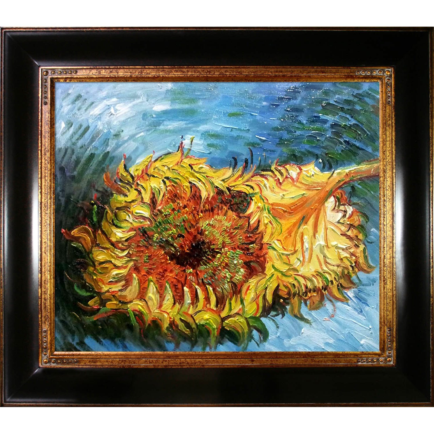 Dark Stained Wood with Gold Trim overstockArt Two Cut Sunflowers with Opulent Frame Painting