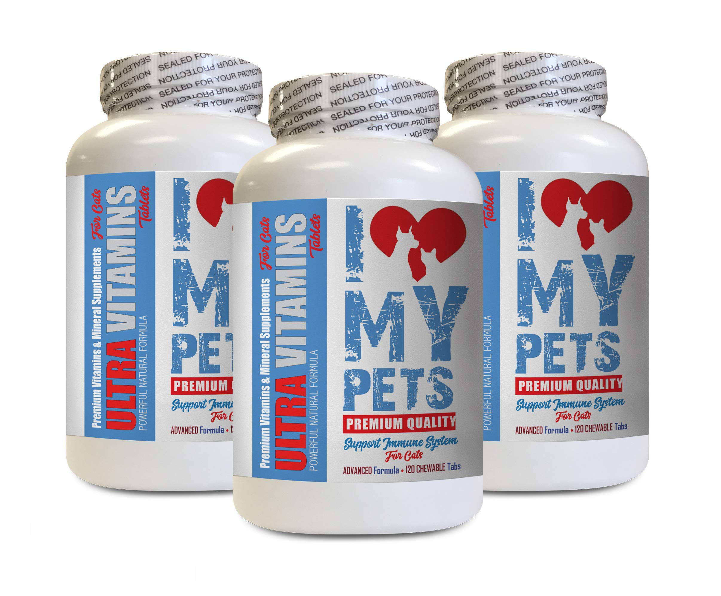 I LOVE MY PETS LLC Senior cat Treat - Ultra Vitamins - CAT Health - Mineral Boost - cat Vitamins for Liver - 360 Treats (3 Bottles) by I LOVE MY PETS LLC