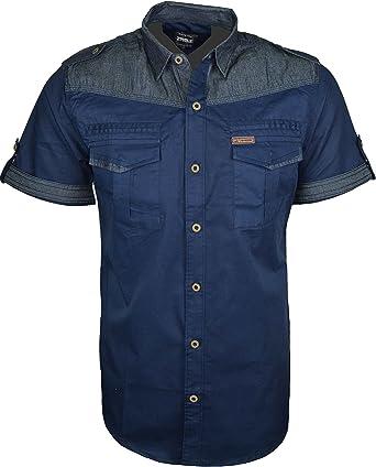 para Hombre Funda rígida para Tela Vaquera Moda Camisas de Manga Corta botón de Cierre Frontal con Bolsillos Delanteros Azul Azul Marino Medium: Amazon.es: Ropa y accesorios