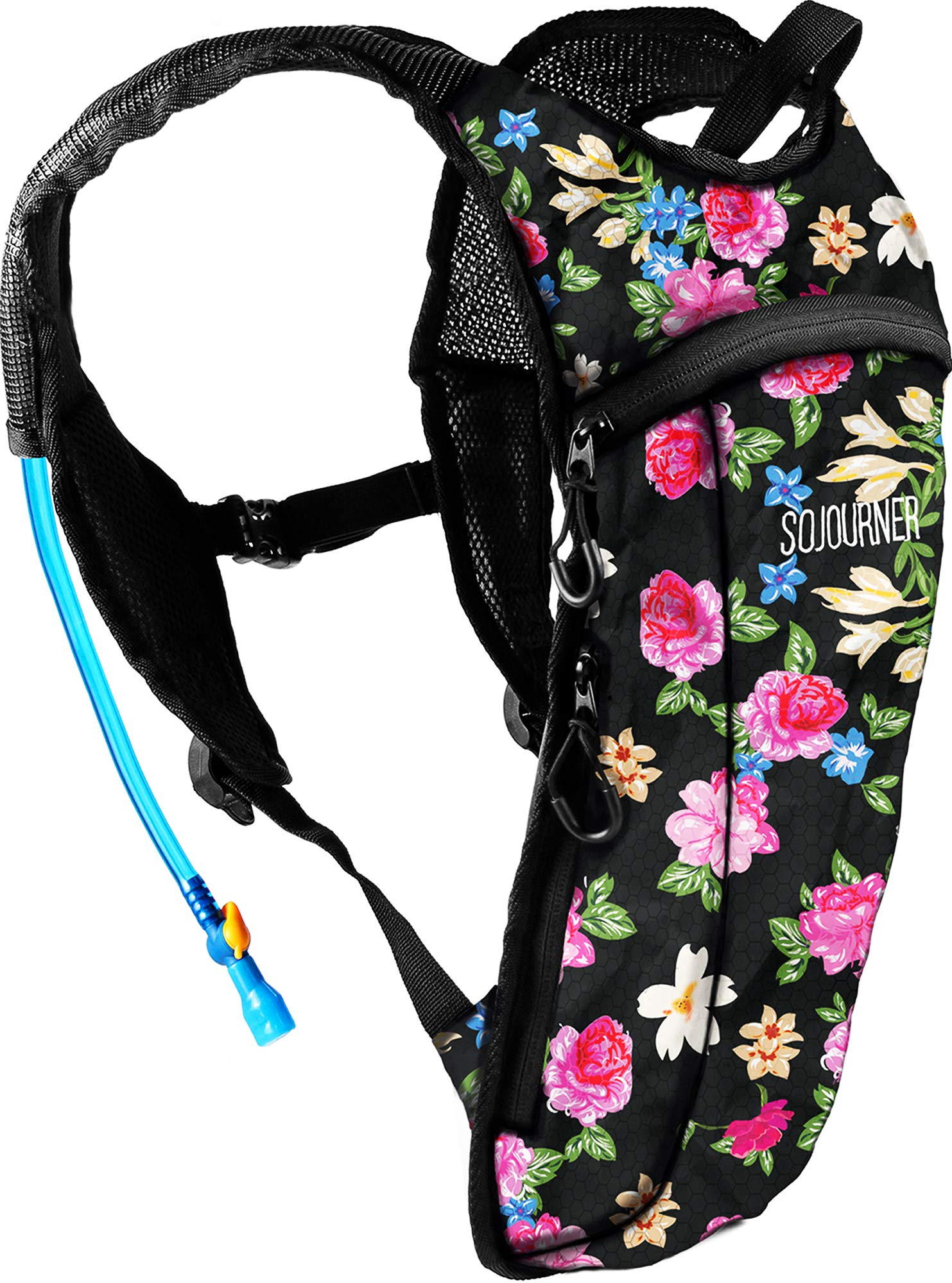 Sojourner Rave Hydration Pack Backpack - 2L Water Bladder Included for Festivals, Raves, Hiking, Biking, Climbing, Running and More (Small) (Floral Traditional) by SoJourner Bags