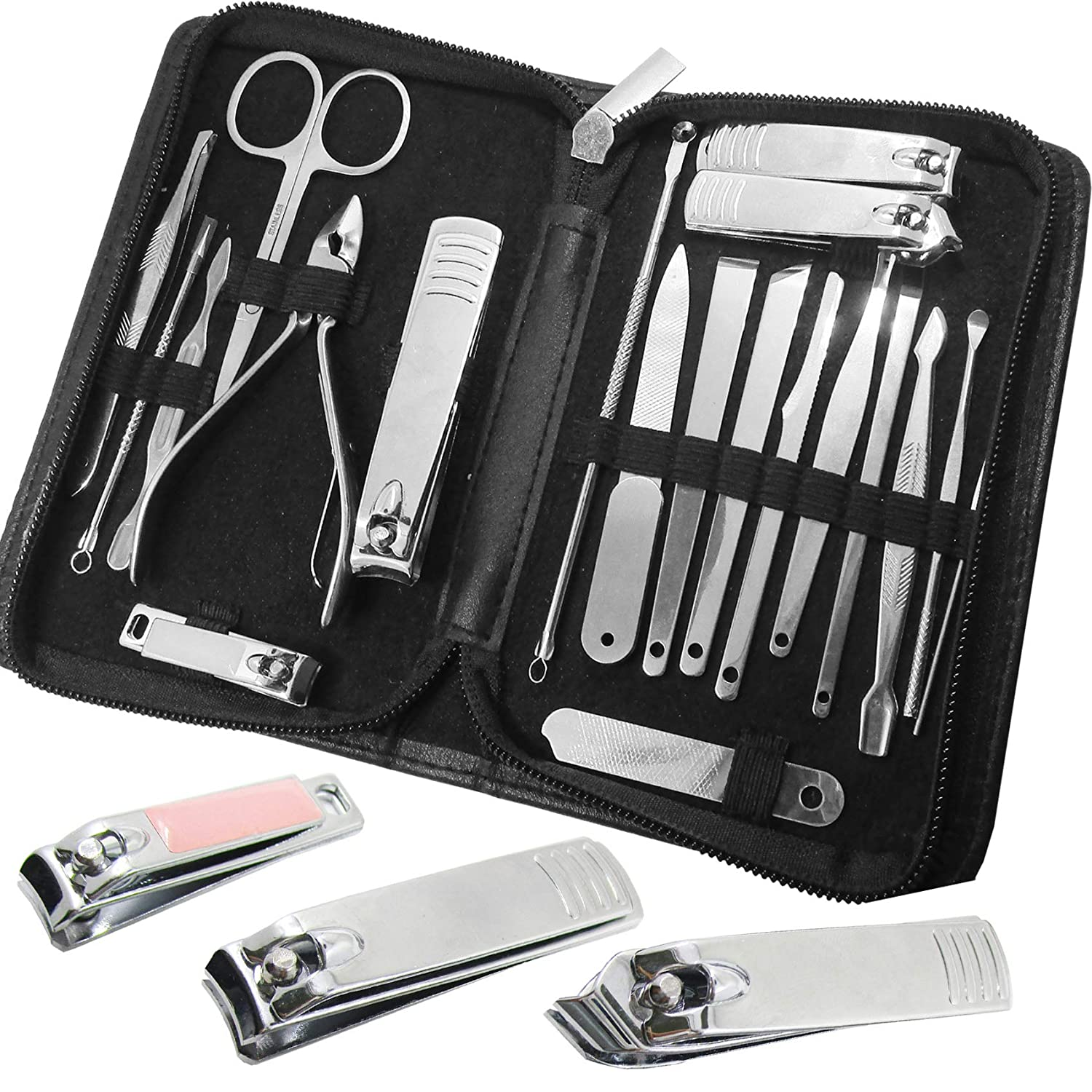 20 in 1 Manicure Set Nail Clippers Pedicure Kit Stainless Steel Manicure Kits, Professional Grooming Kits, Nail Care Tools with Black Travel Case for Men and Women (20PCS)