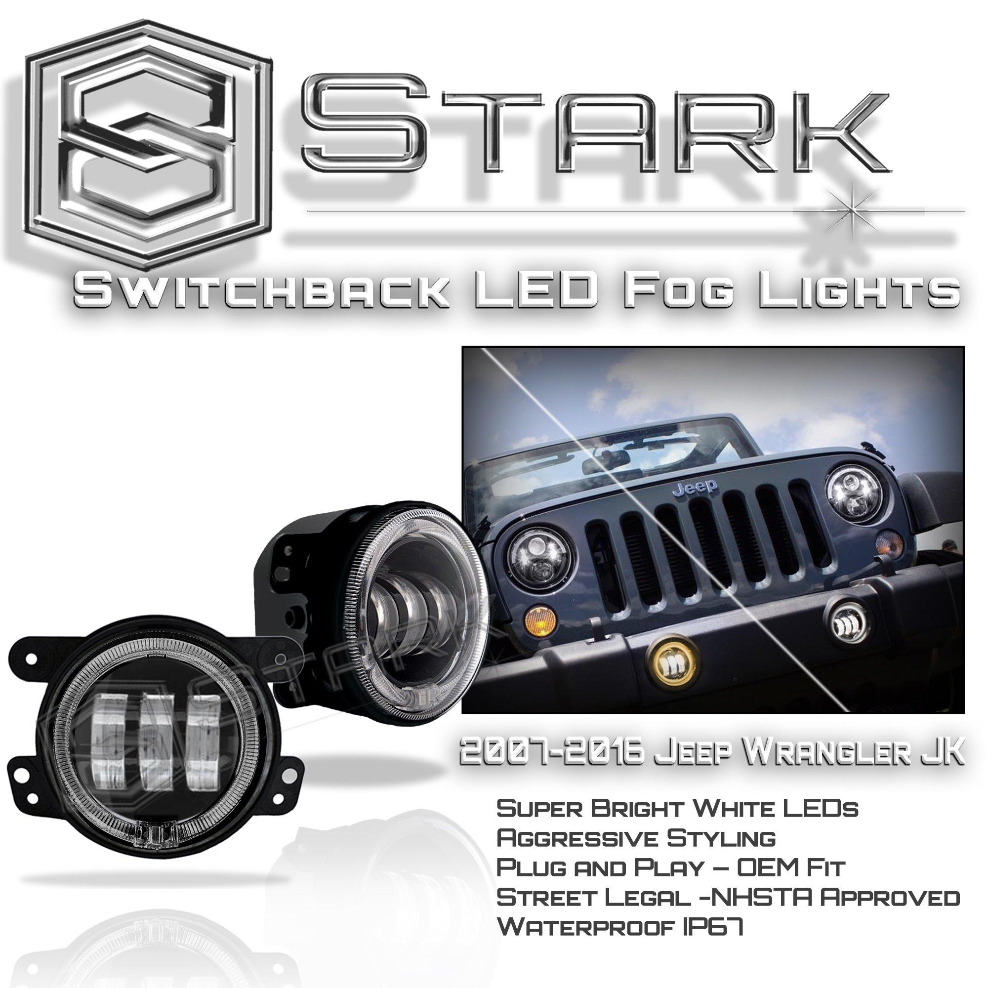 Stark 30W CREE 4'' Inch LED Fog Light w/Halo Angel Eyes Lights Jeep Wrangler JK 07-17 - Switchback Halo