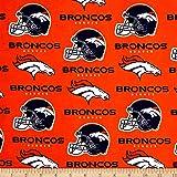 NFL Cotton Broadcloth Denver Broncos Orange Fabric By The Yard