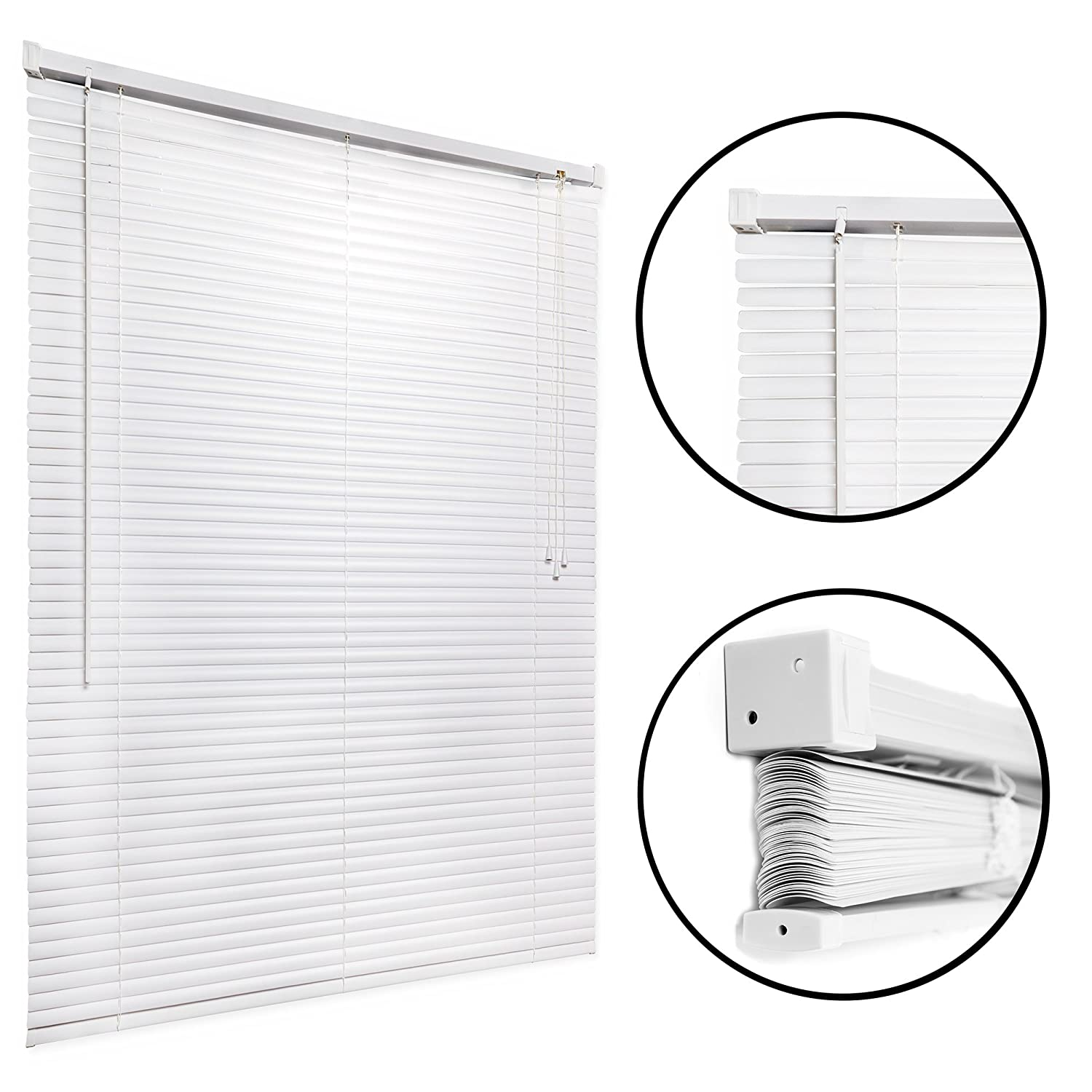 "Vinyl, Mini Window Blinds and Sun Shades (White, 27"" x 64"") - Easy to Install Kitchen, Home, Office Windows Shade with Pull Cord - Classic Style for Stationary or Sliding Frames - by Huntington"