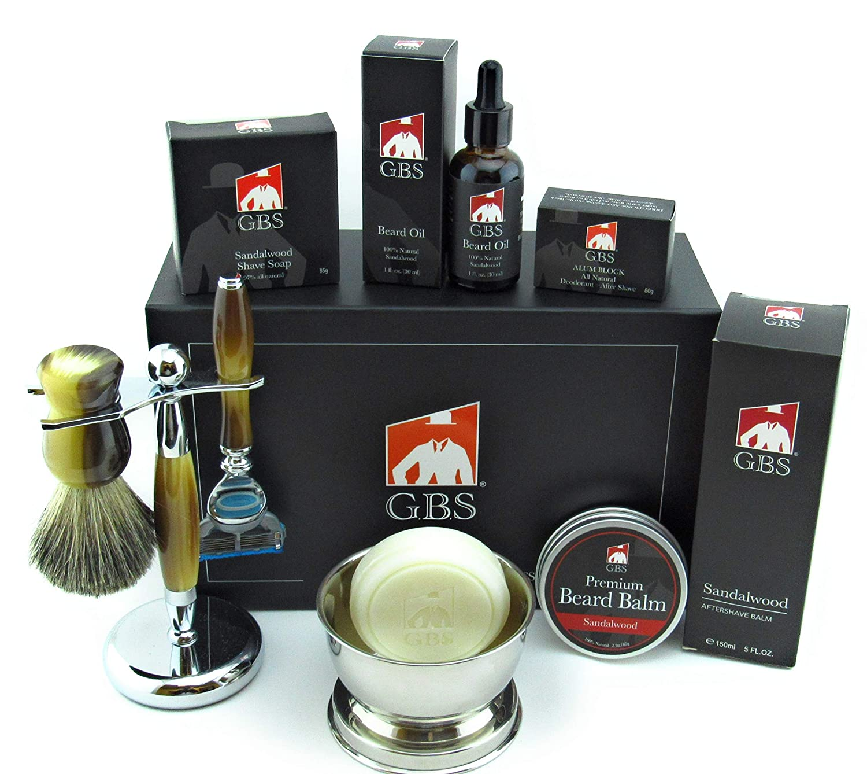 GBS Mens Premium Sandalwood Set - Complete Kit - 5 Blade Compatible Manual Razor Long Horn Handle, Pure Badger Bristle Shave Brush, Brush&Razor Stand Holder - Oil, Beard Balm, Shave Soap & Aftershave