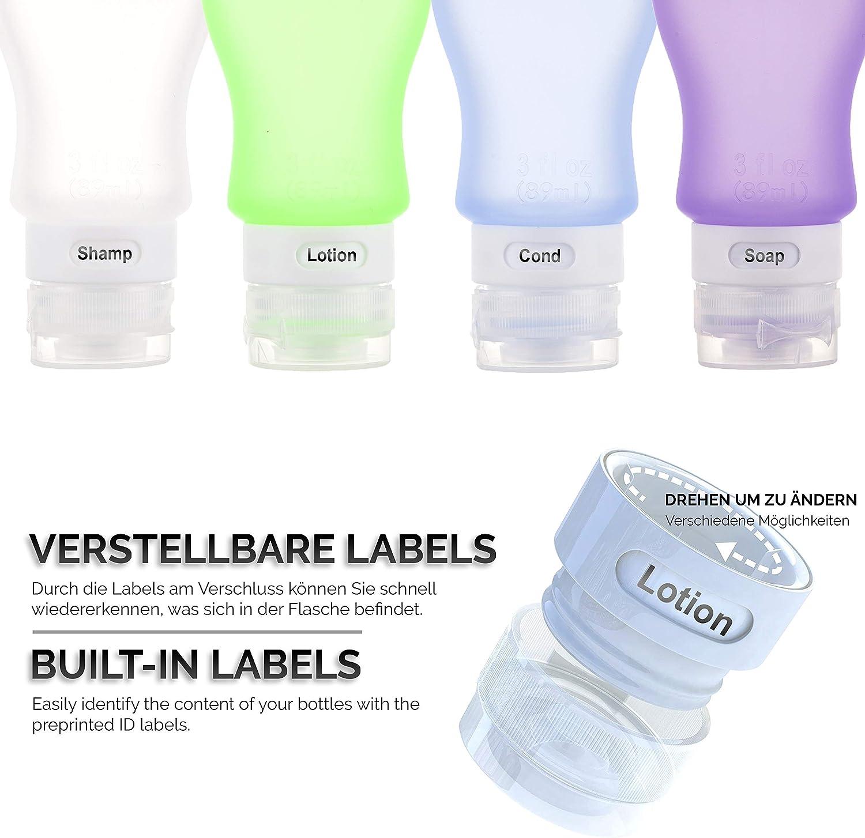 01 4 St/ück Tragbare Silikon Reiseflaschen Set Auslaufsichere Nachf/üllbare Leere Reiseflaschen F/ür Kinder Reiseflaschen 30ml