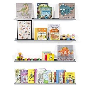 Wallniture Floating Wall Shelf Nursery Bookshelf Picture Ledge 46 Inch Gray Set of 4