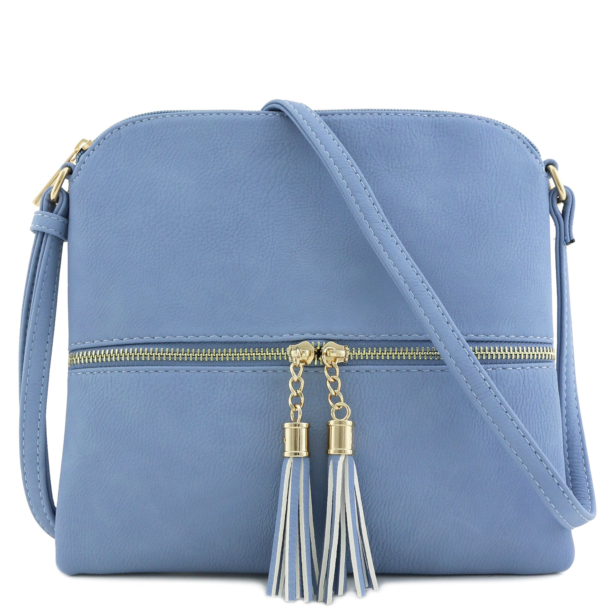 Lightweight Medium Crossbody Bag with Tassel (Light Blue)