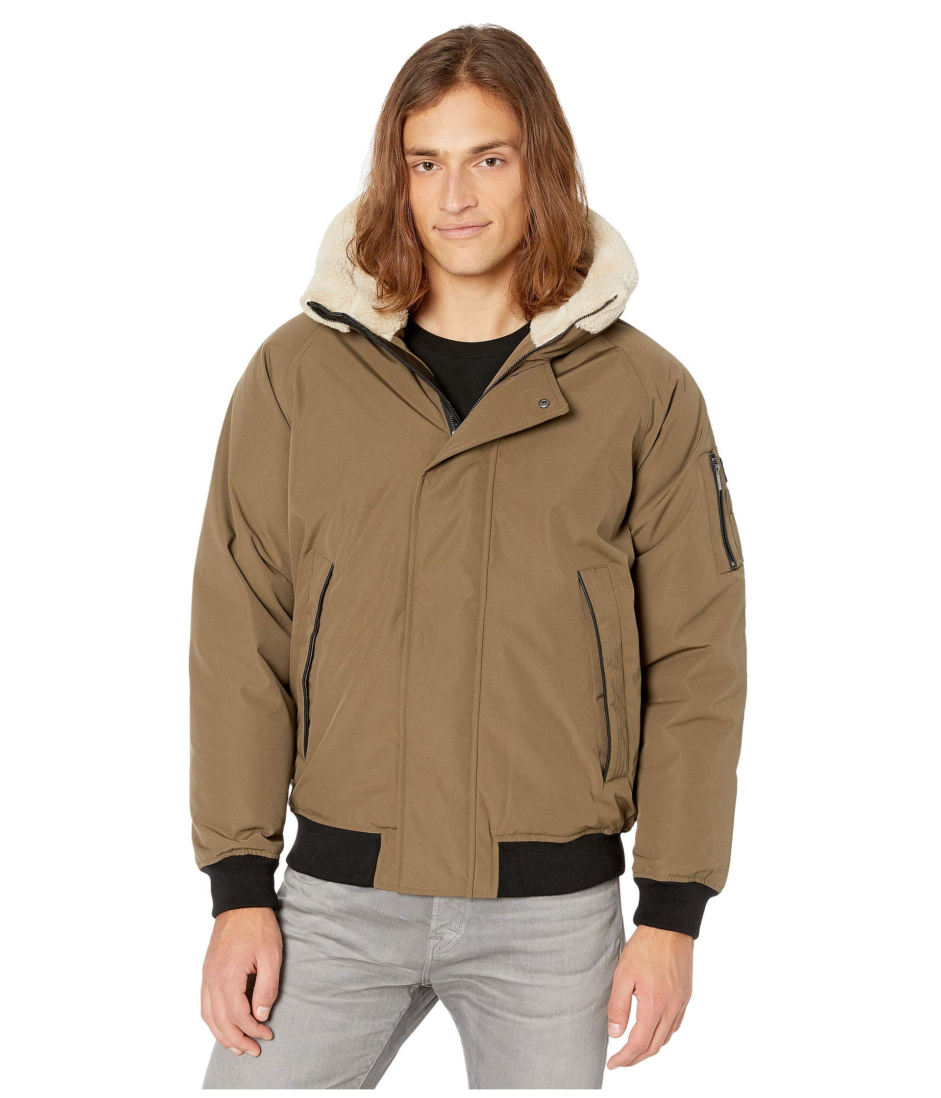 Sean John Mens Ultra Warm Bomber Jacket with Sherpa Trim Hood