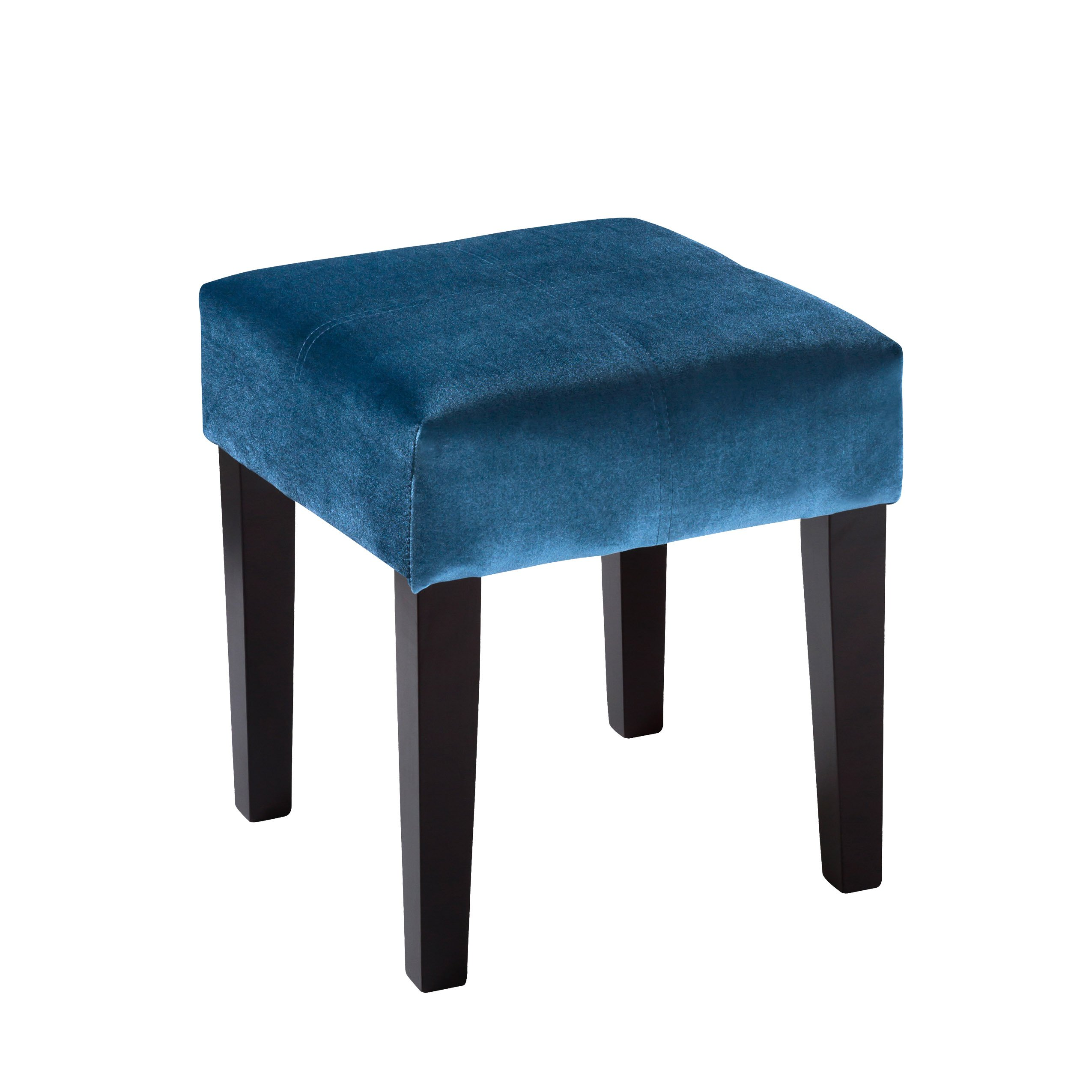 CorLiving Antonio Lad-228-O 16'' Square Ottoman Bench Footrest Velvet with Solid Wood Legs, Blue