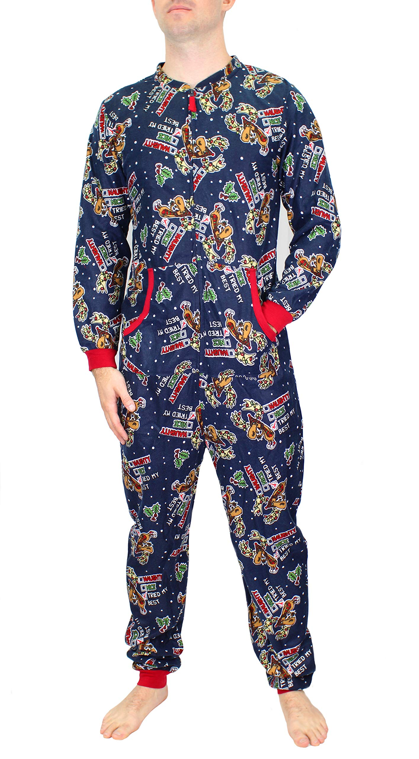 Wembley Unisex Adult Novelty One Piece Onesie Pajama Winter Holiday Union Suit (Navy Naughty Nice, S/M) by Wembley