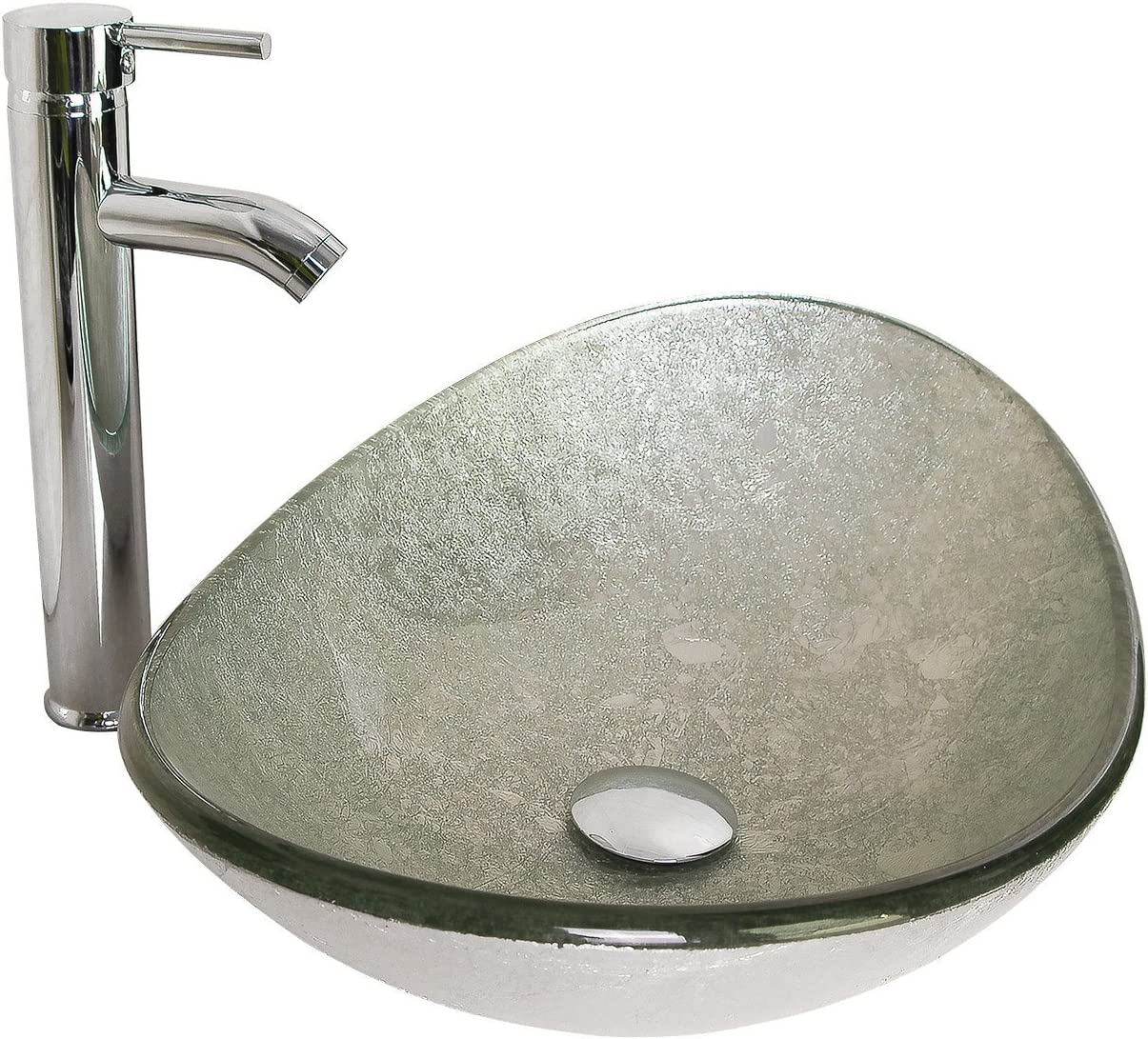 BATHJOY Modern Bathroom Oval Glass Vessel Sink Bowl with Chrome Faucet and Pop-up Drain Combo