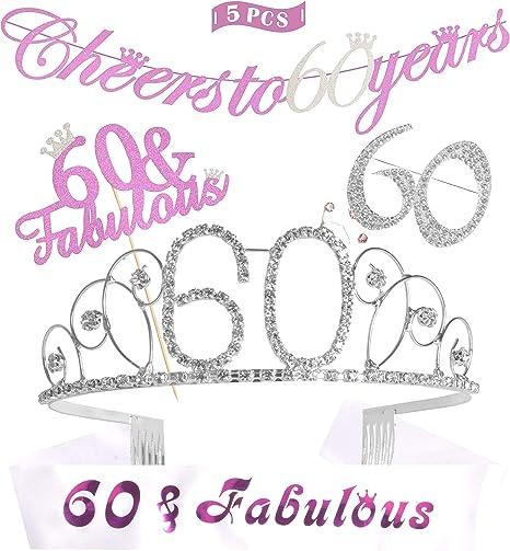 Amazon.com: 60 cumpleaños decoraciones fiesta suministros de ...