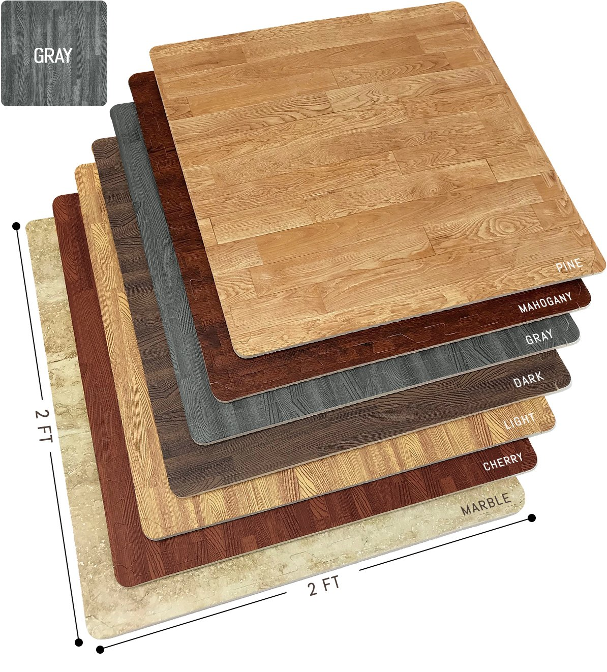 Sorbus Wood Floor Mats Foam Interlocking Wood Mats Each Tile 4 Square Feet 3/8-Inch Thick Puzzle Wood Tiles with Borders - for Home Office Playroom Basement (4 Tiles 16 Sq ft, Wood Grain - Gray)