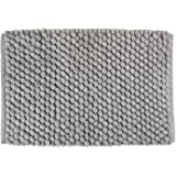 """DII Non-Slip Ultra Soft Chunky Chenille Microfiber Spa Bath Rug, Luxury & Absorbent, Place Near Vanity, Bath Tub or Shower for Bathroom, Dorm Room, And Other More Humidity Use, 17x24"""", Gray"""