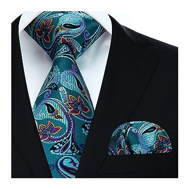 f16d1036e0a1a HISDERN Floral Paisley Wedding Tie Handkerchief Men's Necktie & Pocket  Square Set, One Size,