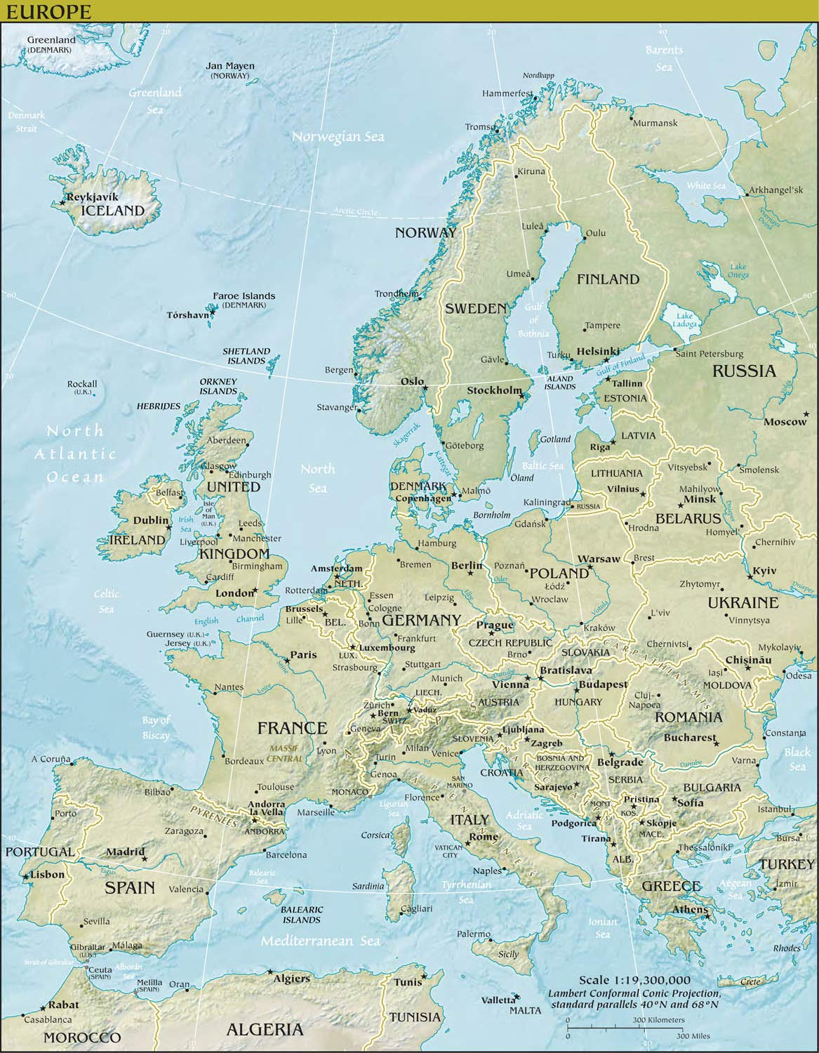 Amazon.com: Map Poster - Europe Physical Map 18.5\