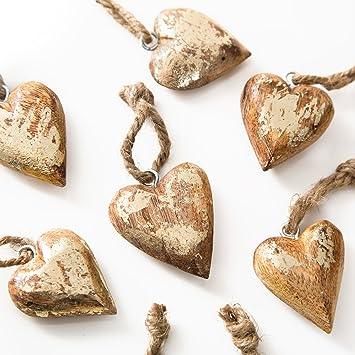 Amazon De 10 Stuck Kleine Gold Farbene Holz Herzen 4 5 Cm Schnur
