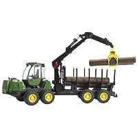 BRUDER - 02133 - Porteur Forestier JOHN DEERE 1210E Vert avec Remorque et Rondins