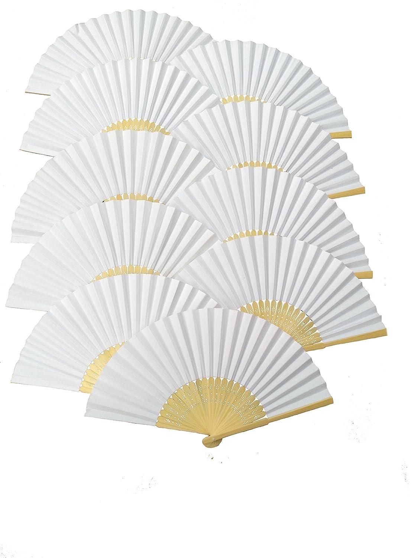 Amazon.com: MS Made 10pcs Folding Fan White paper fan Bamboo ...