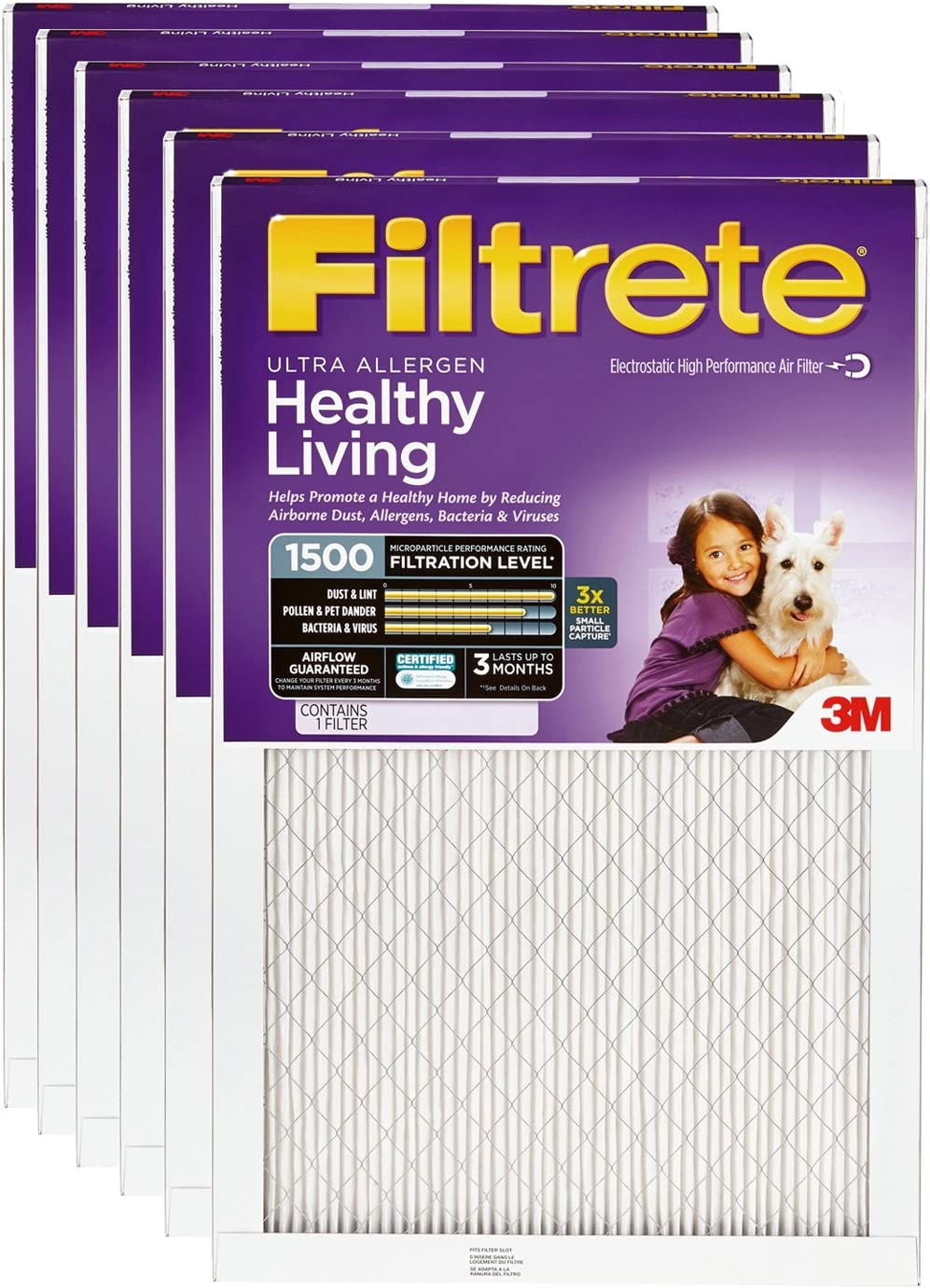 19.6 x 24.6 Filtrete 1250 Ultra Allergen Filter by 3M 4 Pack 20x25x1