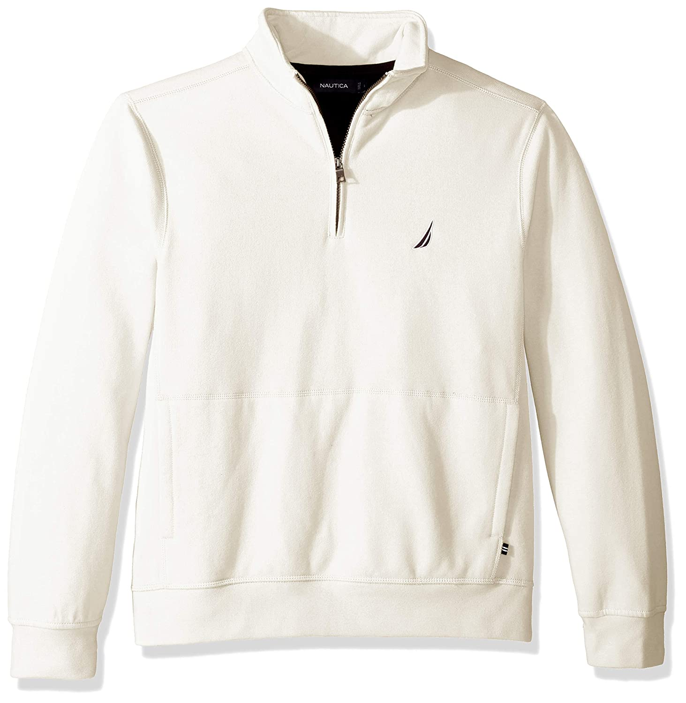 Nautica Mens Long Sleeve Half Zip Mock Neck Sueded Fleece Sweatshirt