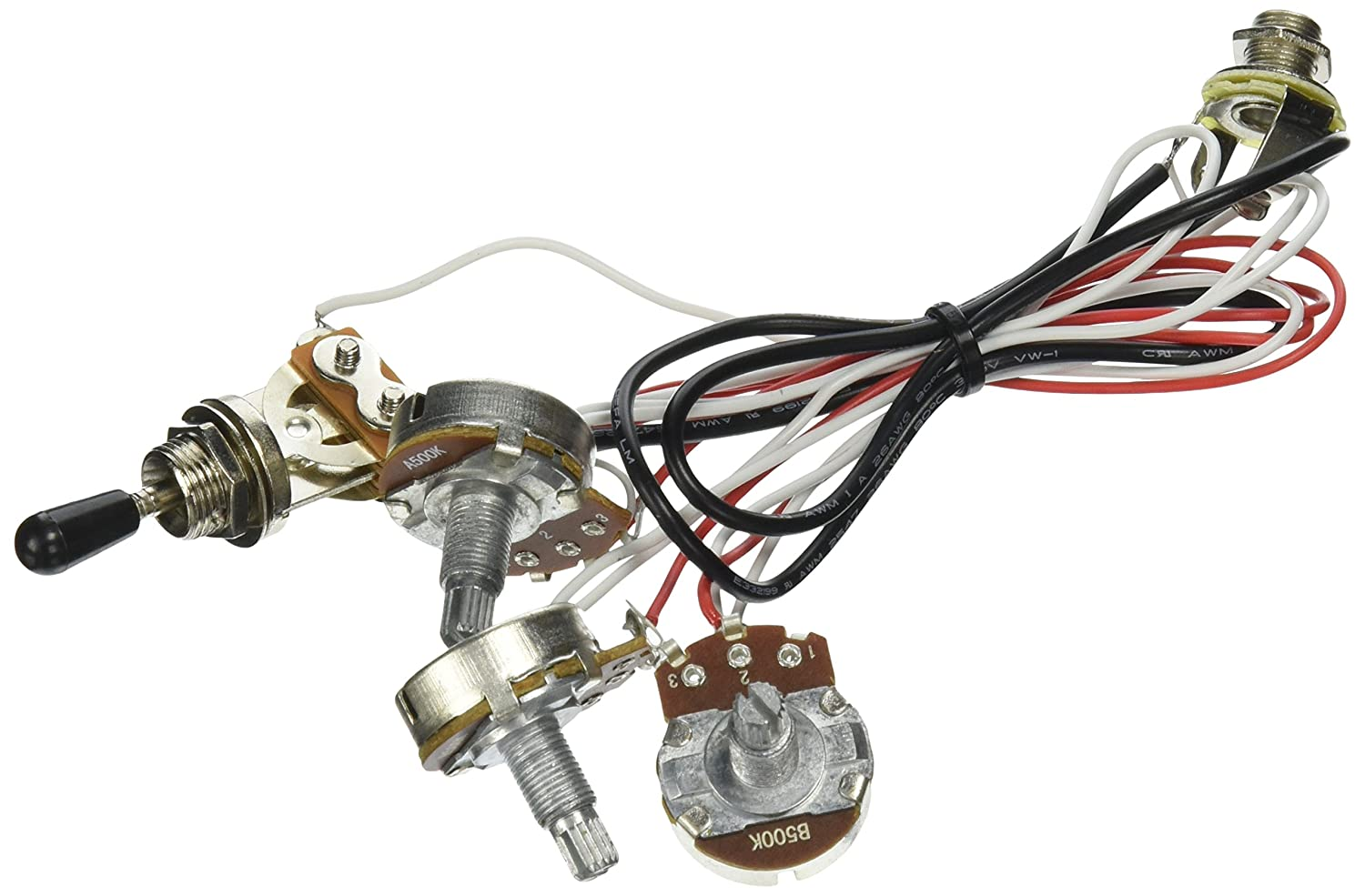81vE7FvrQHL._SL1500_ amazon com kmise mi0318 guitar wiring harness 2 volume 1 tone 2 volume 1 tone wiring harness at gsmx.co