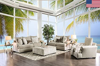 ANTHEA Living Room Furniture 3pc Sofa Set Set Beige Sofa Loveseat Chair  Upholstered Cushion Couch Pillows