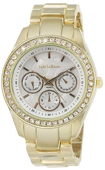 be3e4dd15888 Reloj de Mujer con Pulsera con Acentos de Estrás y Esfera Grande en Tono Dorado  de Jade LeBaum - JB202729G  Jade LeBaum  Amazon.es  Relojes