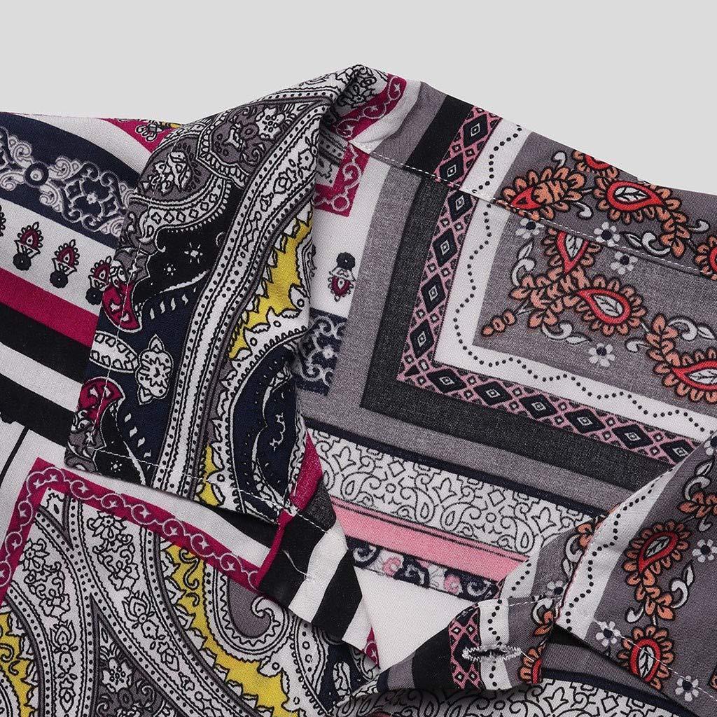 Camicia A Maniche Corte Camicia A Maniche Corte con Stampa Etnica retr/ò Estiva da Uomo Elegante Minimalista YunYoud Camicetta da Uomo Comoda E Versatile