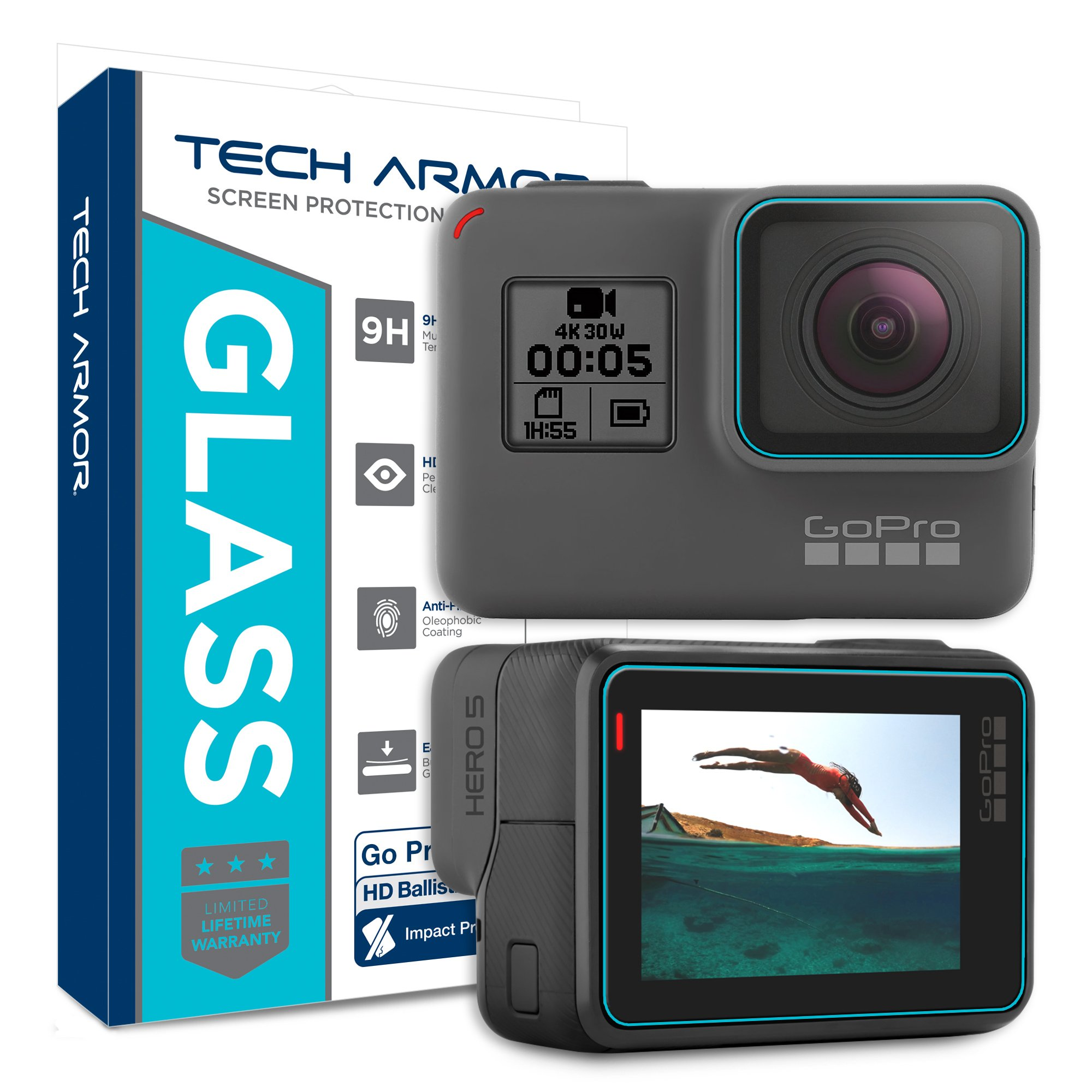 Tech Armor Ballistic Glass Screen Protector for Go Pro 5/Go Pro Hero 5 - Protect Your Screen from Drops - 99.9% Clarity & Touch Accuracy [2-Pack]