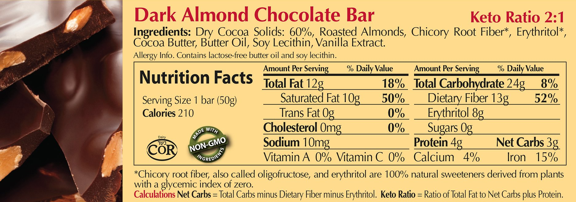 ChocoPerfection Dark Almond Sugar Free Chocolate, Gift Box of 12 50g Bars by ChocoPerfection (Image #3)