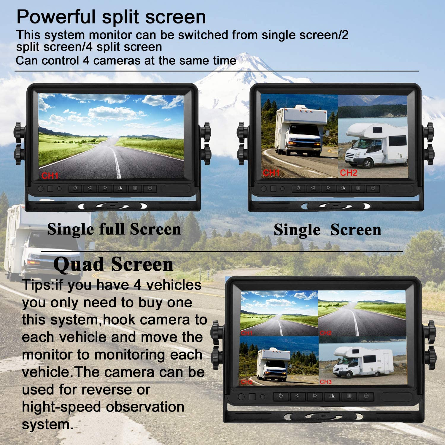 DoHonest FHD 1080P Digital Wireless 4 Backup Camera and 7 Monitor Kit Split Screen for Trailers,RVs,Trucks,Campers,5th Wheels Highway Monitoring System IP69K Waterproof Super Night Vision