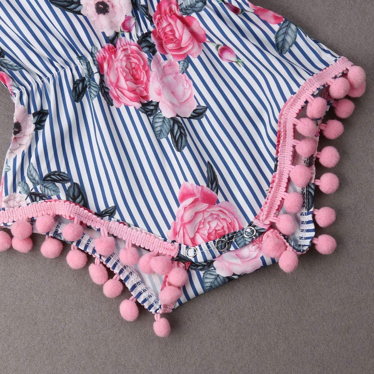 MysterLuna Cute Newborn Baby Girl One-Piece Cactus Tassel Pompom Sleeveless Romper Jumpsuit Bodysuit Outfit