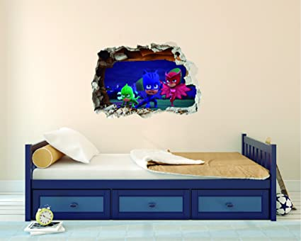 PJ Masks 3D Effect - Brake Wall Effect 3D - Wall Decal For Room Boys Girls