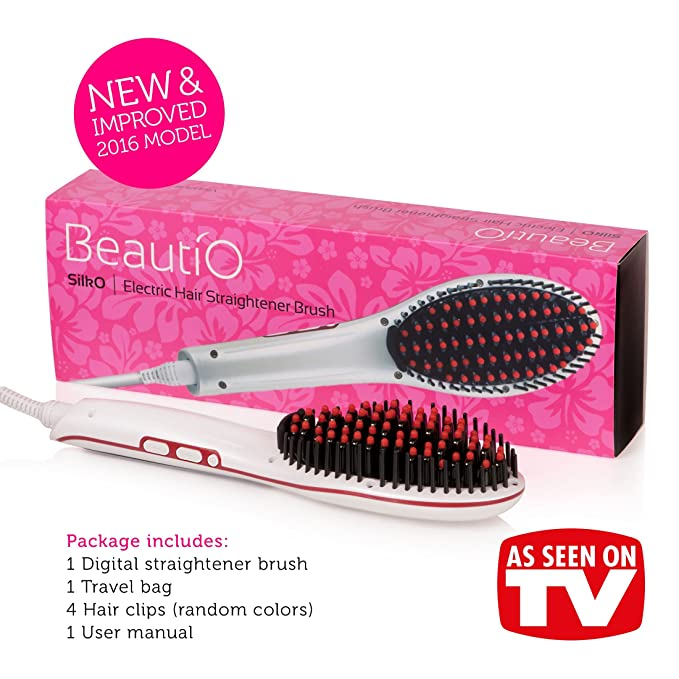 [nuevo modelo mejorado] rizador de pelo alisado - Cepillo eléctrico de cerámica plancha de cepillo, pantalla LCD, libre de & Apagado automático - Hair ...