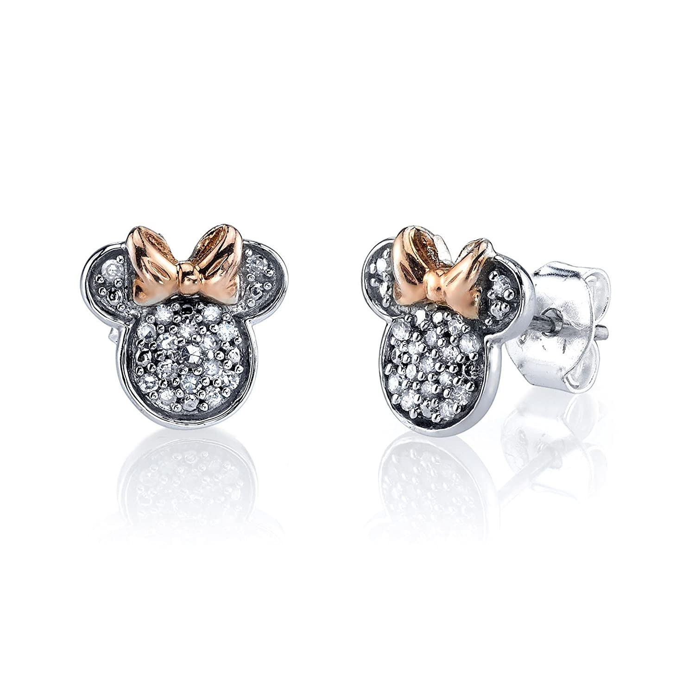 6cda11cb1 Amazon.com: Disney Minnie Mouse Sterling Silver Diamond Stud Earrings 1/10  ctw: Jewelry