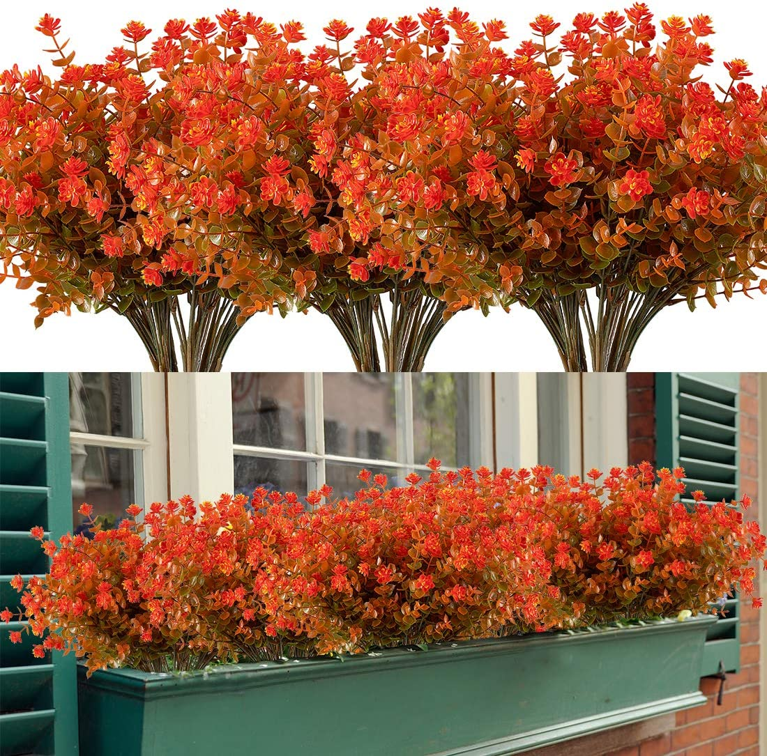 HAPLIA 6 Bundles Artificial Flowers, Fake Artificial Greenery UV Resistant No Fade Faux Plastic Plants for Wedding Bridle Bouquet Indoor Outdoor Home Garden Kitchen Office Table Vase (Orange Red)