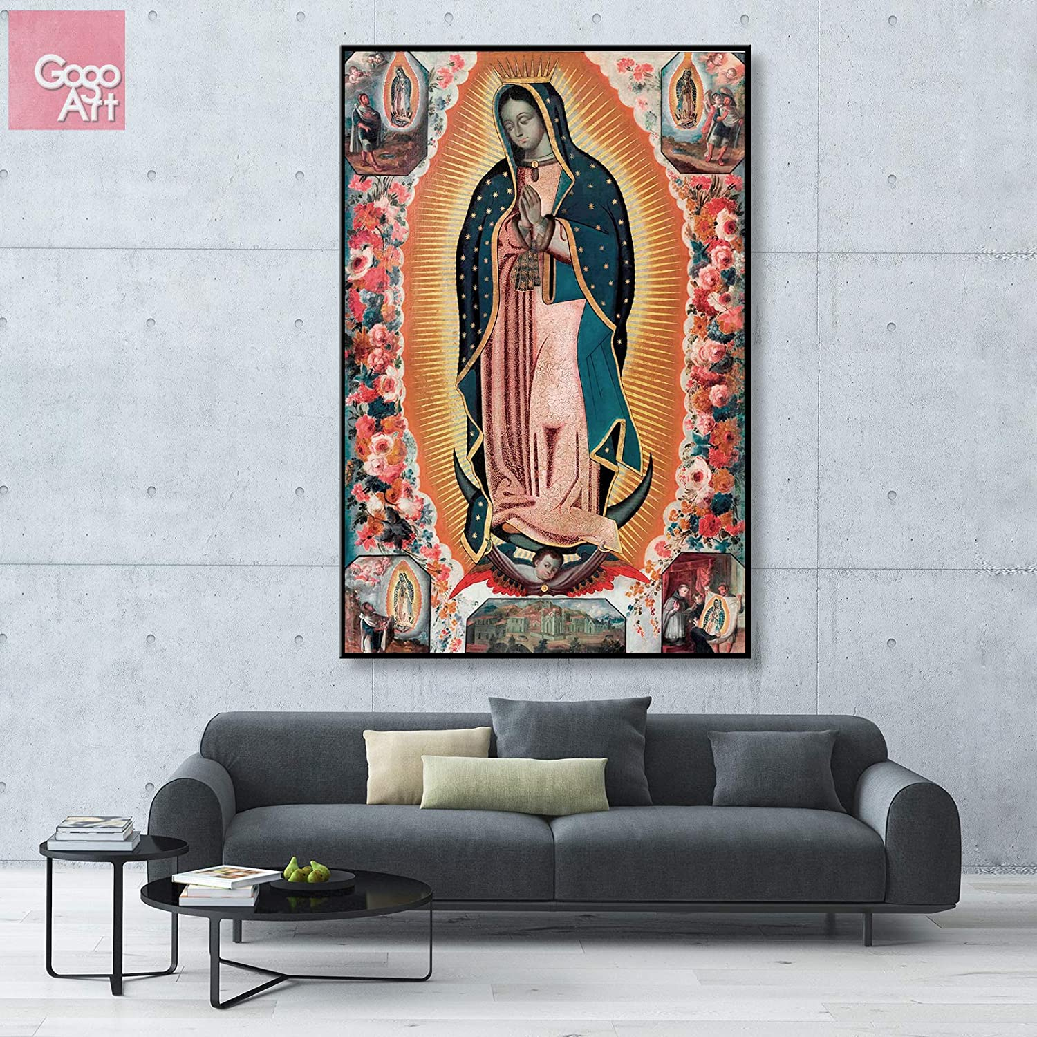 GoGoArt Roll Unstretched Canvas Print Wall Art Home Decor Photo Big Poster Virgen de Guadalupe Mexico Catholic Virgin Mary Famous Biblical Painting A-0347-1.5 (40 X 60 inch)