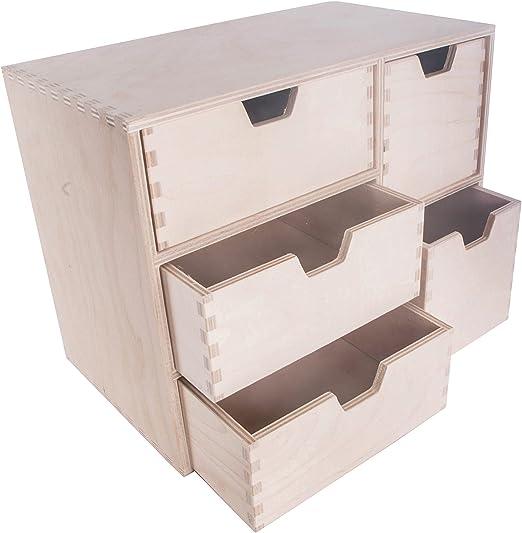 SEARCH BOX Caja de Almacenamiento de Madera pequeña/Escritorio 5 cajones Unidad/Decoración DIY Manualidades / 36 x 20,5 x 28 cm: Amazon.es: Hogar