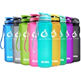 Grsta Sport Water Bottle 20oz/1L, Wide Mouth Leak Proof BPA Free Eco-Friendly Plastic Best Water Bottle for Outdoor/Running/Camping/Gym Flip Top & Filter 1-Click Open