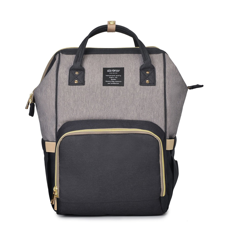 Diaper Bag Backpack Waterproof Large Capacity Insulation Nappy Bags Organizer (Black grey-1499)
