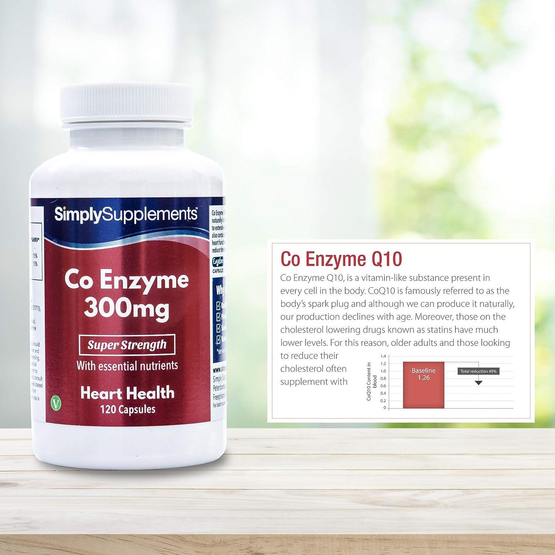 Coenzima Q10 300mg - ¡Bote para 4 meses! - Apto para veganos - 120 cápsulas - SimplySupplements: Amazon.es: Salud y cuidado personal