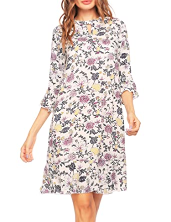 340a86f1c Zeagoo Women's Print Tunic Top Dress 3/4 Sleeve Summer Casual T Shirt Midi  Dresses