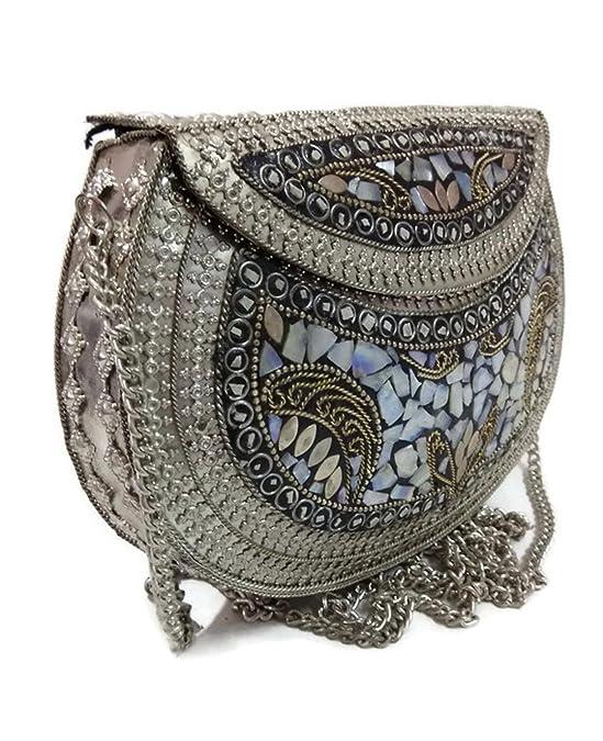 Embrague de plata étnica, regalo para mujer, bolsas de mosaico de metal, bolsa hecha a mano, bolsa de piedra, bolsa de concha, bolsa de honda para ...