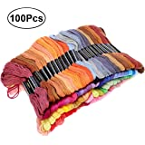 WINOMO 100 Skeins of 8M Multi-color Soft Cotton Cross Stitch Embroidery Threads Floss Sewing Threads (Random