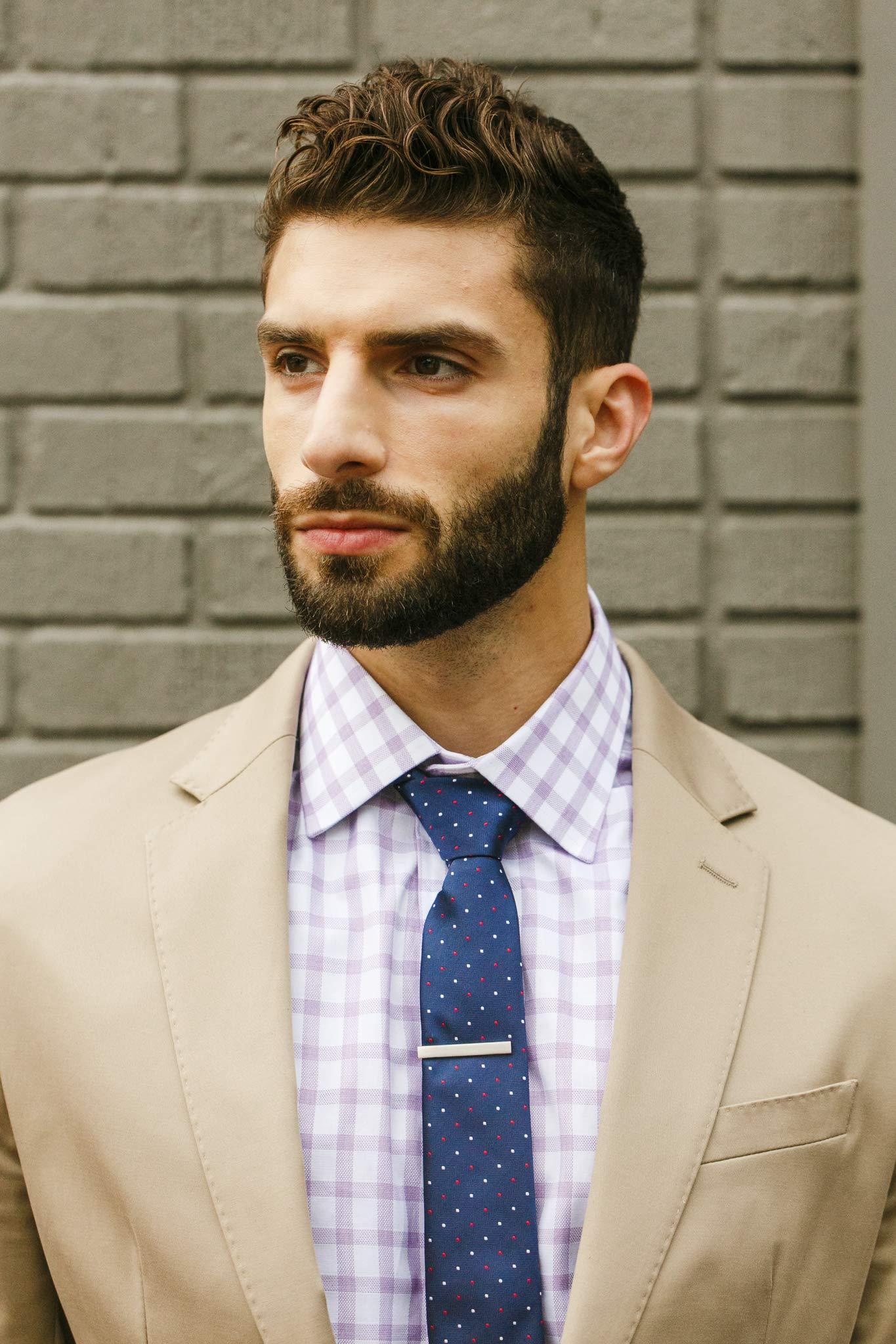 Cueva Bar 4.13 cm Tie Clip, Suiting Tie Clip, Great Gift for Men, Classic Style, Office Look, Wedding Business Necktie Clip, Silver Steel, Unique Design, Everyday Wear, Fashion Necktie Clip by Cueva (Image #6)
