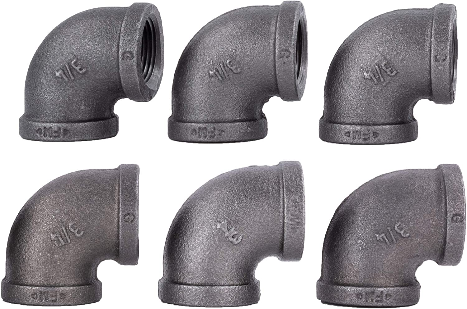 """3/4 Inch Elbows Industrial Malleable Cast Iron Pipe Fitting 6 Pack by Pipe Decor, Pipe Components for Building Tables, Chairs, Shelving, and Custom Furniture, Fits 3/4"""" Pipe, Six Pack of Elbows"""